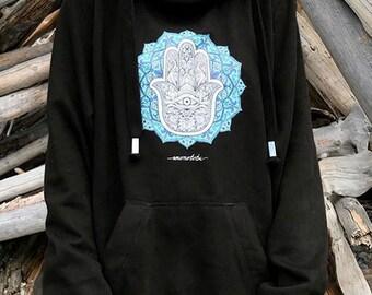 Kruis nek hoodie-fatima-mandala-hand-monotobi-clothing-goa-psychedelic-hippie-yoga-meditation-sacred-geometry kleding kleding-festival