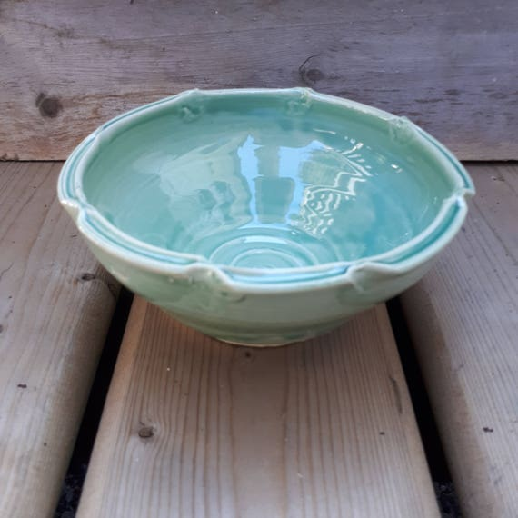 Pottery handmade   bowl in aquamarine, blue green fruit bowl 3 cups serving piece dinnerware food safe