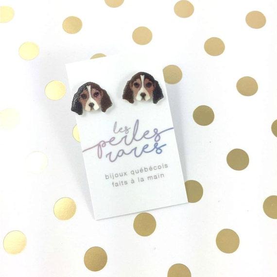 Small, beagle, dog, brown, white, earrings, light, hypoallergenic, plastic, stainless stud, handmade, les perles rares