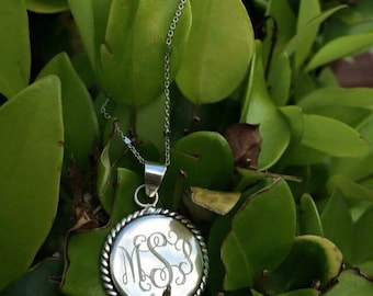 """925 Sterling Silver Nautical Rope Monogrammed Pendant in an 16-18"""" Sterling Silver Chain  Bridesmaids gift"""