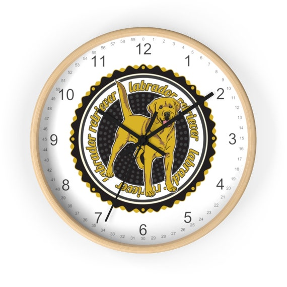 Yellow Lab Dog Wall Clock 10 Inch Large Wooden Great Gift for Dog Lovers