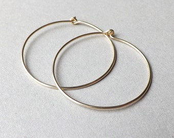 Gold Hoop Earrings Modern 14k Gold Filled Earring, Minimal Hoops jewelry by ArtistiKat