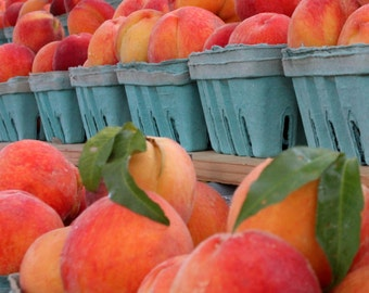 Fuzzy Navels - Fresh Market Peaches - Summer Peaches - Fruit Still Life - Wall Decor - Original Color Photograph by Suzanne MacCrone Rogers
