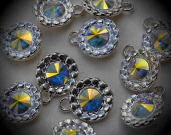 Genuine Silver Plated Rivoli Swarovski Crystal  Daisy Flowers Charms In Crystal AB