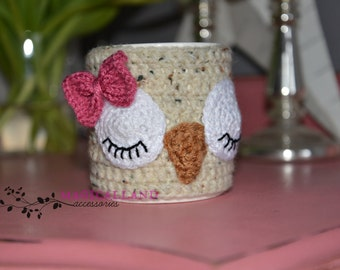 Owl Knit Mug Cozy with Bow - Knitted Tea Cup Mug Sweater - Hand Knit Coffee Mug Warmer- Cup sleeve