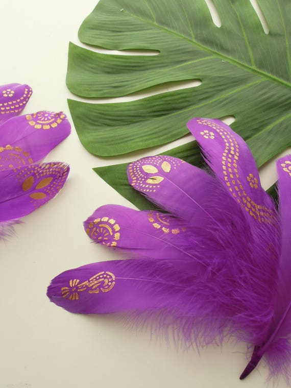 5 Purple gold painted feathers, Gold purple quills for feather garlands DIY, Violet gold stencilled feathers, Purple gold loose quills