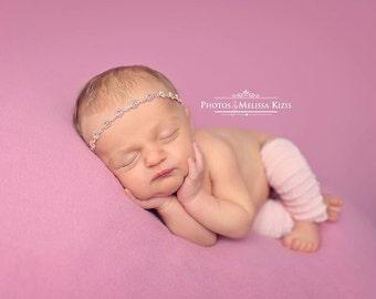 Newborn Baby Girl Headband Tieback / Halo / Pink Rose Mauve /  Photo Photography Prop / Infant / Simple Tiny Gimp