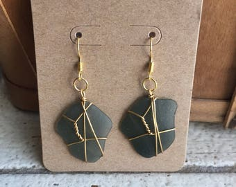 Glass Wire Wrapped Earrings