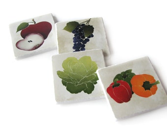Decorative Tile Kitchen Wall Art, Grape Peppers Fruit and Vegetable Wall Decor
