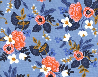 Birch Periwinkle Les Fleurs by Rifle Paper Co for Cotton and Steel 8003-01