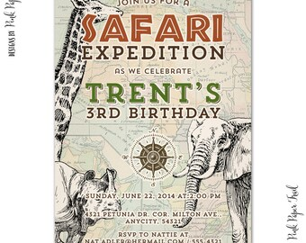 Jungle Safari, Jungle Animals, Adventure, Party Invitation, I Will Customize for you, Print Your Own
