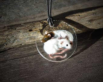 Rats necklace -  fused glass pendant - sleepy rats  jewelry