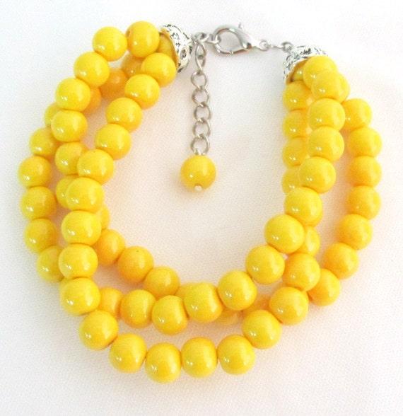 Yellow Pearl Bracelet,Yellow Bracelet,Yellow Bead Bracelet,3 Rows Yellow Bracelet Wedding Bracelet,Bridesmaids Bracelet Free Shipping USA