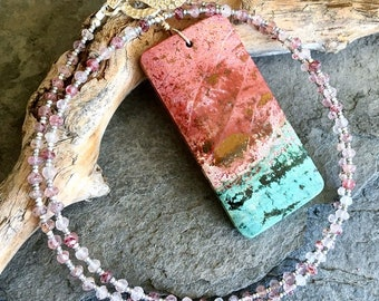 Fancy Jasper and Strawberry Rutile Necklace