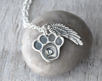 Personalized Pet Necklace - Angel Wing Pet Necklace - Silver Pet Remembrance Dog Cat Necklace - Memorial Pet Necklace - Paw Print Necklace
