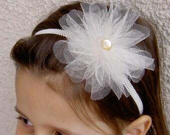 Tulle flower Headband - Flower Girl Headband - Flower Girl Hair Accessories - Tulle Headband - Flower Headband - Tulle Hairband -Cream