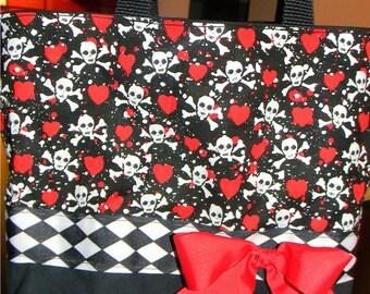 Red & Black Gothic Skull Skeleton Argyle  Tattoo Fantasy BAG Purse Tote BAG or Diaperbag