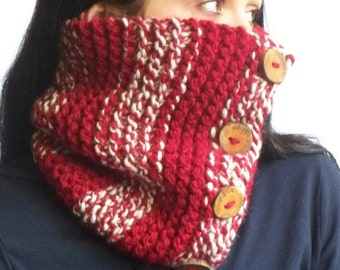 Warm Chunky Cowl, Tube Cowl, Red, White, Woodland Cowl