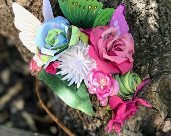 Butterfly Fairy Headband, Flower Crown, Festival Wear, Flower Headband, Butterfly Headband, Fairy Crown. READY TO SHIP.