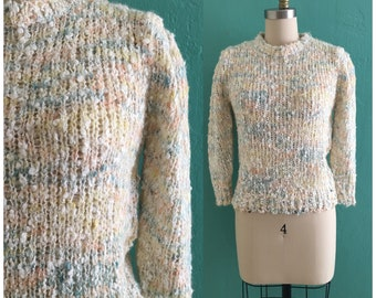 vintage 80's pastel sweater // spring knit top