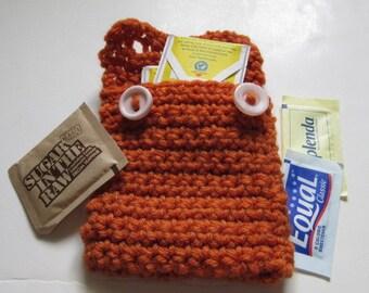 Tea Bag Case,  Brown Tote, Crochet, Yarn Tote, Sugar Packs Case, Tote, Crochet Envelope, Button Pouch, Hidden, Secret, Keep it Clean