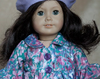 """Monet's Garden shirt, pants, and beret for 18"""" doll (fits American Girl)"""