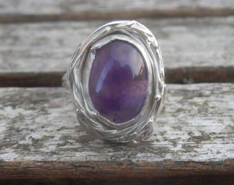 Transparent nest ring adjustable transparent light purple amethyst sterling silver, nest, personalized ring