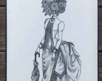 Wall Art Print of a Handmade Drawing - Flower Head