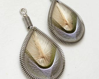 new stock woven threaded teardrop earrings--beige olive cream--lot of 2