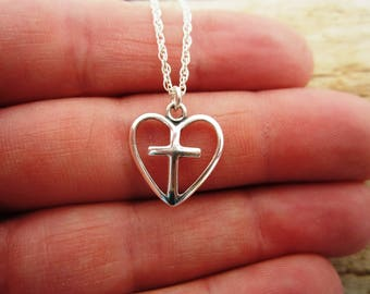YOLLA Sterling Silver Heart Cross Pendant with Sterling Silver Chain Necklace