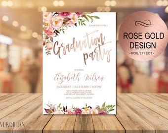 Graduation Party Invitation Printable Template, Blush and Rose Gold Graduation Party Invite, DIY PDF Instant Download|VRD320DSR