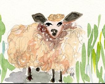 FLUFFY DAGMAR //  watercolour painting /  ooak