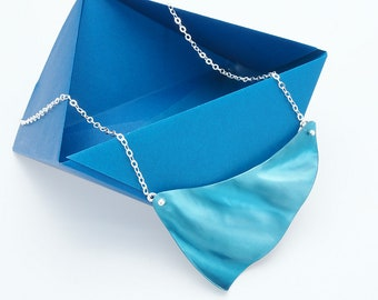 Blue Wave Necklace with Sterling Chain -  Flowing Water Collection by Mandy Allen -Anodized Aluminum Necklace