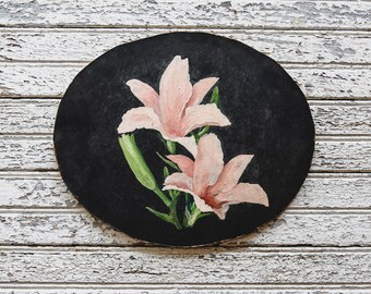 Vintage Pink Lilies Oil Painting, Flower Painting, Oil On Board, Farmhouse Decor, Cottage Decor