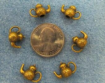6-piece mini teapot charms antique gold