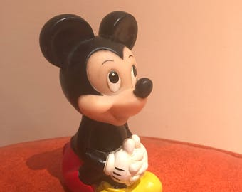 """Vintage 1980s rubber Mickey Mouse 5"""" squeak toy"""