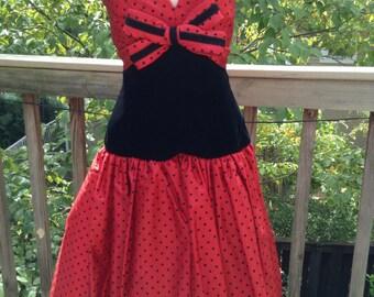 Red Polka Dot Black Velvet Strapless Party Dress Victor Costa