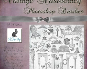 Vintage Aristocracy - Crown - Tiara - Coat of Arms - Royalty - Frame - Photoshop Brush Set  - 38 Brushes - Instant Download - 38 .abr Files