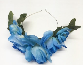 Blue Rose Flower Crown with Leaves