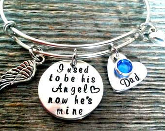 Memorial Bracelet, I used to be his angel now he's mine, In Memory of Dad, Memory Jewelry, Memorial Jewelry, Remembrance Jewelry, Angel