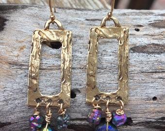 Bronze Titanium Drusy & Mystic Lapis Earrings