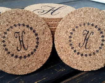 Cork Coasters, Personalized Cork Coaster for Wedding Receptions 10 Piece Set