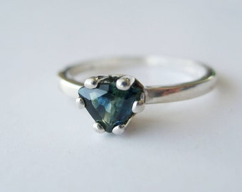 Small Trillion Top-grade Blue Green Bicolor Sapphire In Sterling Silver Ring, 0.59ct. Size 7