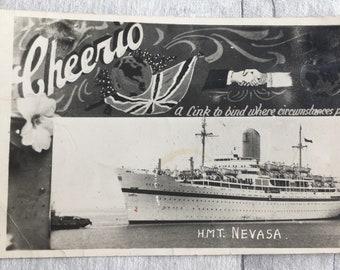 vintage postcard, postcard, vintage cards, SS Nevasa postcard, hmt Nevasa postcard, navy Postcard