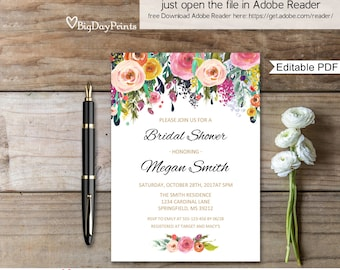 Bridal Shower Invitation, Floral Watercolour Bridal Shower Invitation, Instant Download, Editable PDF - you personalize at home, #A001