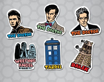 Doctor Who Die Cut Illustrated Sticker 6 Pack