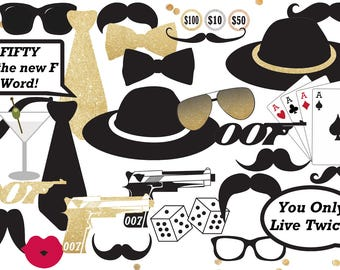 Casino Royal Photo Booth Props - James Bond Party Decorations - 007 Party Signs - Instant Download and Editable File