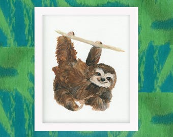 Swinging Sloth Nursery Animal Watercolor Art Print