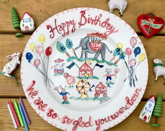 Birthday Platter, Ceramic 13' round Birthday Handpainted Platter, Personalized Folk Art Platter