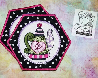 Whimsy Teapot 3 - Mug Rug/Coaster - Machine Embroidery Design. 5x7 In The Hoop Instant Download. Teapot Coaster Gift Giving